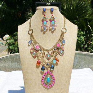 Boho Necklace Jewel Multi Strand Crystal Bead Set